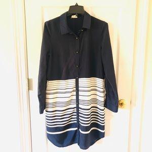 Shirt dress with stripes